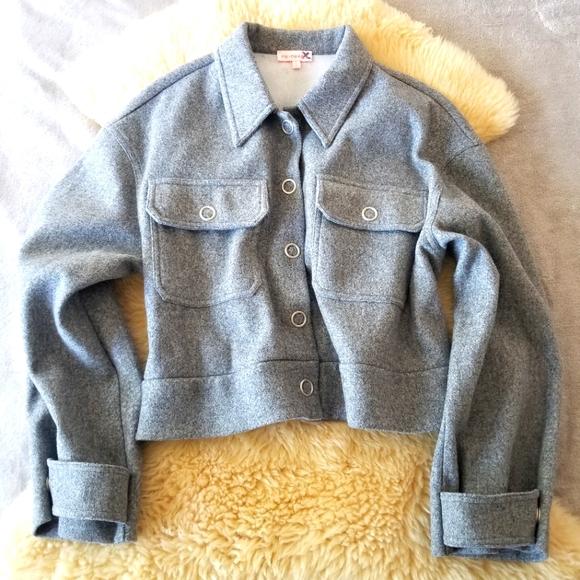re:named cropped grey fleece jacket
